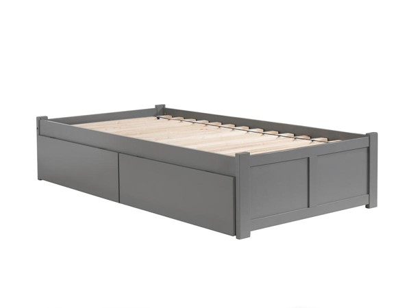 Atlantic Furniture Concord Grey Twin Bed with Flat Panel Foot Board and 2 Urban Drawers AR8022119