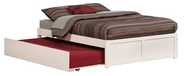 Atlantic Furniture Concord White Flat Panel Footboard and Urban Trundle Full Bed AR8032012