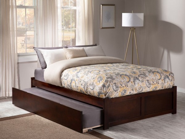 Atlantic Furniture Concord Walnut Flat Panel Footboard and Urban Trundle Full Bed AR8032014