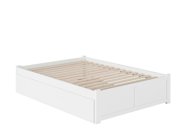 Atlantic Furniture Concord White Full Bed with Flat Panel Foot Board and Full Urban Trundle AR8032052