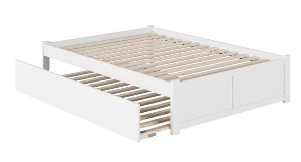Atlantic Furniture Concord White Full Platform Urban Trundle Bed with Flat Panel Footboard AR8032052
