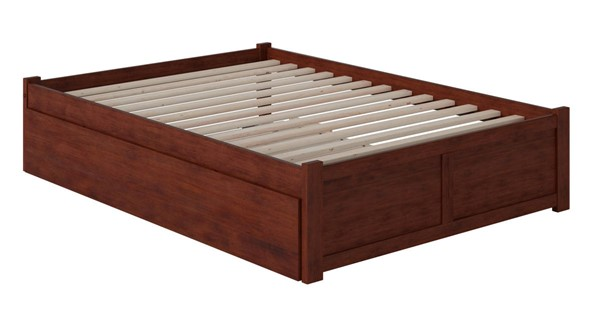 Atlantic Furniture Concord Walnut Full Bed with Flat Panel Foot Board and Full Urban Trundle AR8032054