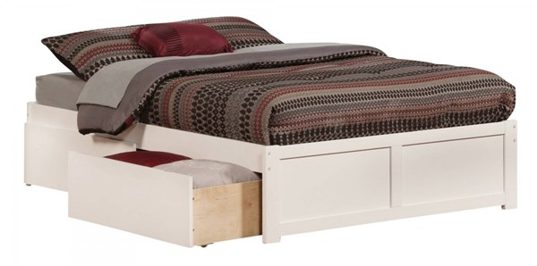 Concord White Wood Flat Panel Footboard & Urban Drawers Full Bed AR8032112
