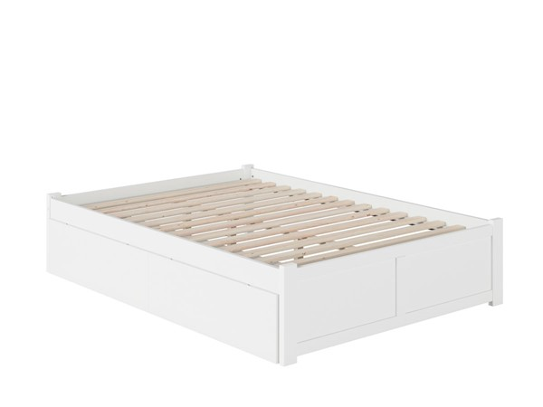 Atlantic Furniture Concord White Full Bed with Flat Panel Foot Board and 2 Urban Drawers AR8032112