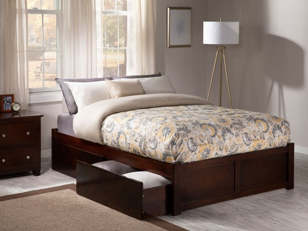 Atlantic Furniture Concord Walnut Flat Panel Footboard and Two Urban Drawers Full Bed AR8032114