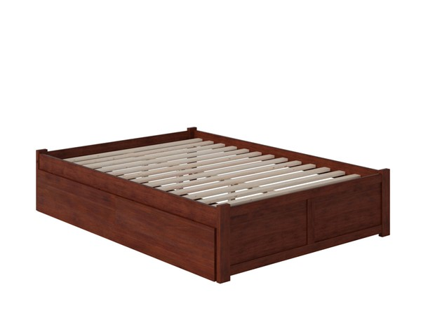 Atlantic Furniture Concord Walnut Full Bed with Flat Panel Foot Board and 2 Urban Drawers AR8032114