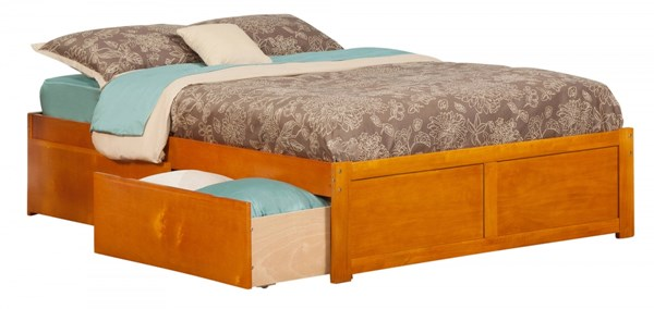 Concord Caramel Wood Flat Panel Footboard & Urban Drawers Full Bed AR8032117