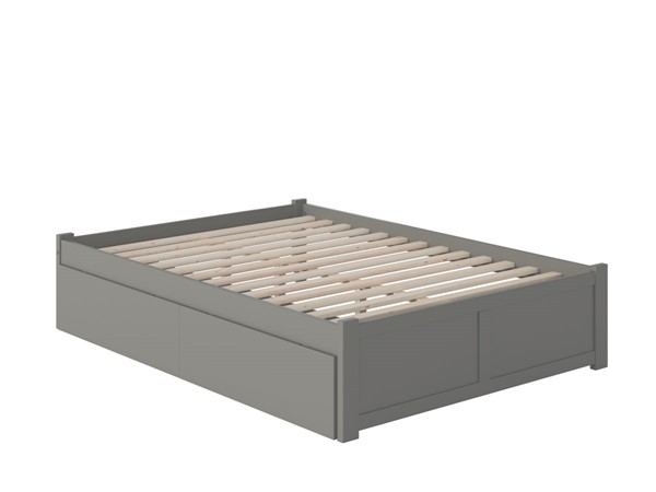 Atlantic Furniture Concord Grey Full Bed with Flat Panel Foot Board and 2 Urban Drawers AR8032119