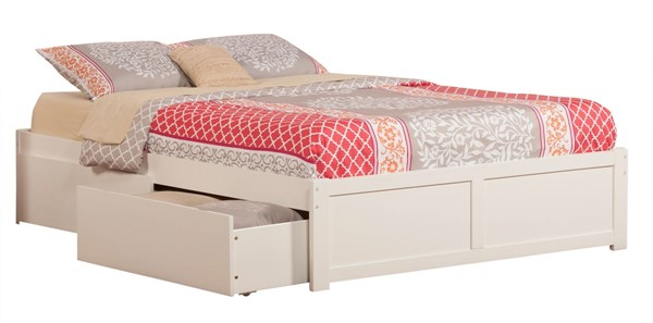 Atlantic Furniture Concord White Queen Bed with Flat Panel Foot Board and 2 Urban Drawers AR8042112
