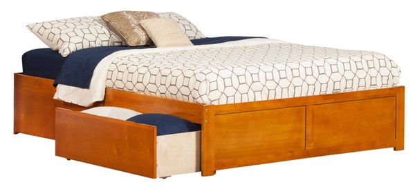 Concord Caramel Latte Flat Panel Footboard & Urban Drawers Queen Bed AR8042117