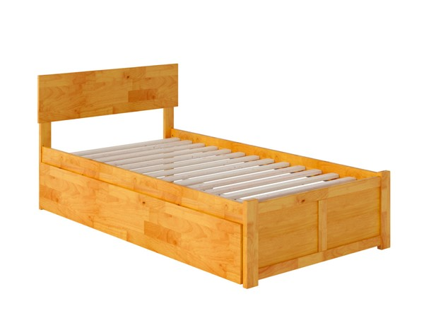 Atlantic Furniture Orlando Caramel Twin XL Urban Trundle Bed with Footboard AR8112047