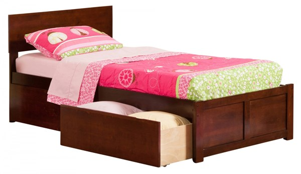Atlantic Furniture Orlando Walnut Flat Panel Footboard and Two Urban Drawers Twin XL Bed AR8112114