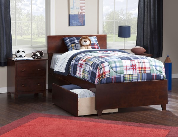 Atlantic Furniture Orlando Walnut Matching Footboard and Two Urban Drawers Twin XL Bed AR8116114