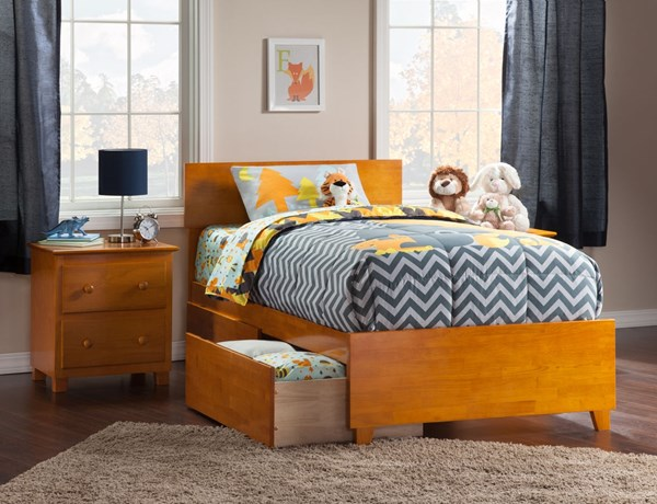 Atlantic Furniture Orlando Caramel Latte Matching Footboard and Two Urban Drawers Twin XL Bed AR8116117