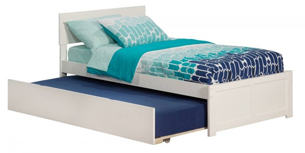 Atlantic Furniture Orlando White Flat Panel Footboard and Urban Trundle Twin Bed AR8122012