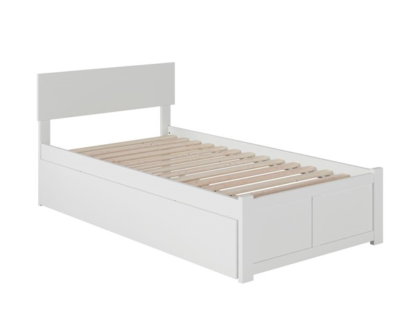 Atlantic Furniture Orlando White Twin Platform Urban Trundle Bed with Flat Panel Foot Board AR8122012