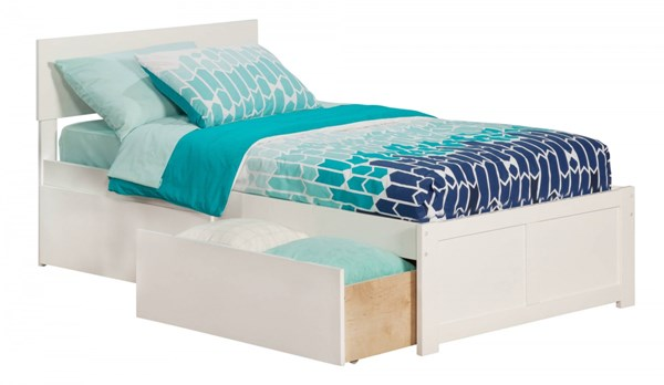 Orlando White Wood Flat Panel Footboard And 2 Urban Drawers Twin Bed AR8122112