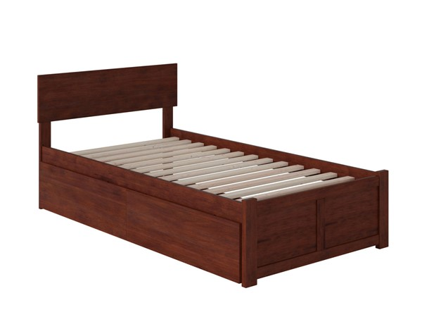 Atlantic Furniture Orlando Walnut 2 Urban Drawers Twin Platform Bed with Flat Panel Foot Board AR8122114