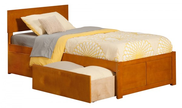 Orlando Caramel Latte Flat Panel Footboard & Urban Drawers Twin Bed AR8122117
