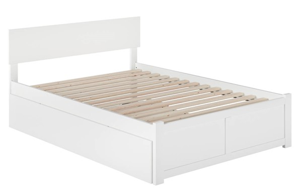 Atlantic Furniture Orlando White Full Platform Urban Trundle Bed with Flat Panel Foot Board AR8132052
