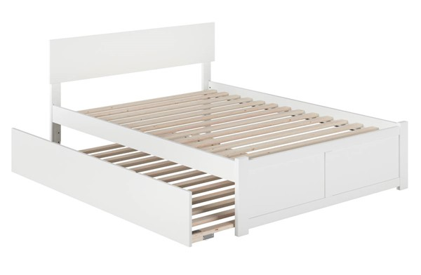 Atlantic Furniture Orlando White Full Platform Urban Trundle Bed with Flat Panel Footboard AR8132052
