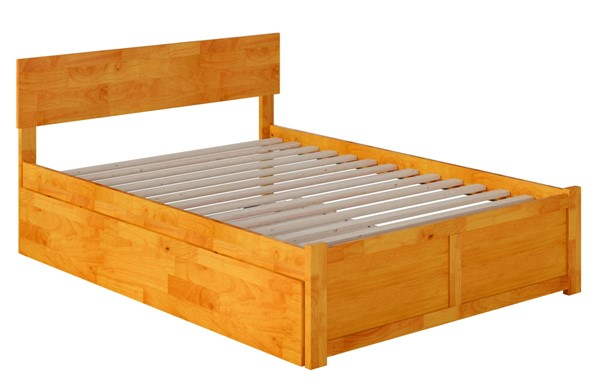 Atlantic Furniture Orlando Caramel Full Platform Urban Trundle Bed with Flat Panel Foot Board AR8132057