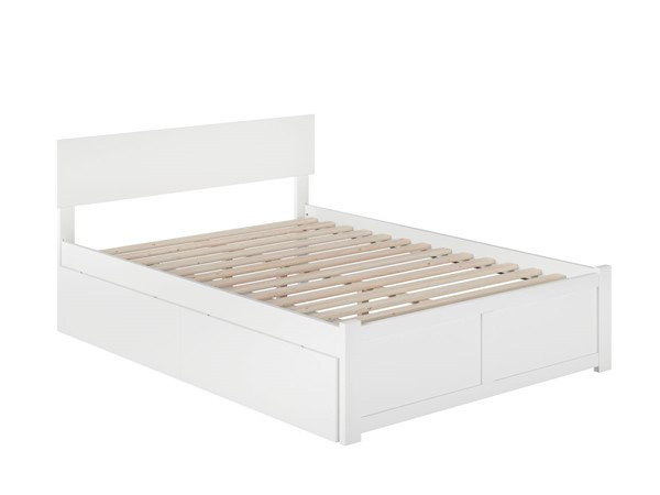 Atlantic Furniture Orlando White 2 Urban Drawers Full Platform Bed with Flat Panel Foot Board AR8132112