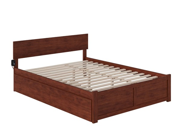 Atlantic Furniture Orlando Walnut Queen Bed with Twin XL Trundle AR8142044