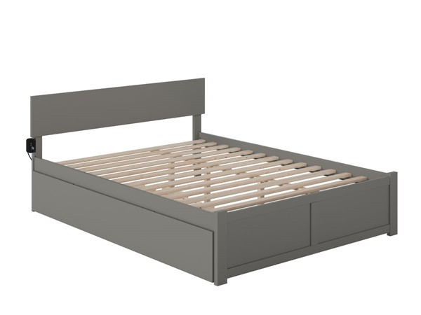 Atlantic Furniture Orlando Grey Queen Bed with Twin XL Trundle AR8142049
