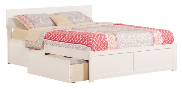 Orlando White Wood Flat Panel Footboard & Urban Drawers Queen Bed AR8142112