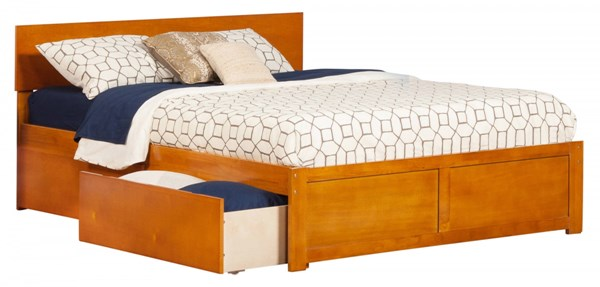 Orlando Caramel Latte Flat Panel Footboard & Urban Drawers Queen Bed AR8142117