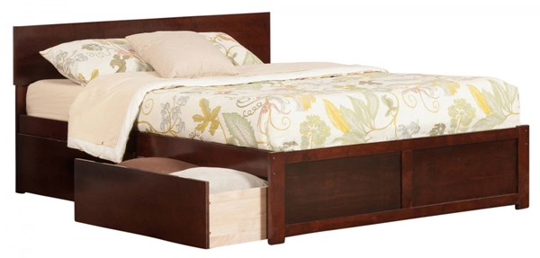 Orlando Walnut Wood Flat Panel Footboard & Urban Drawers King Bed AR8152114