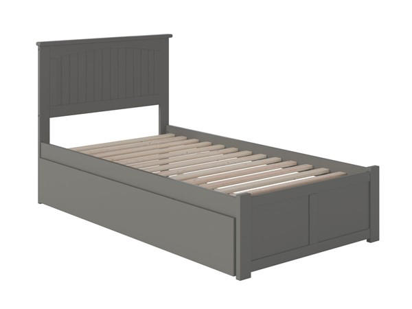 Atlantic Furniture Nantucket Grey Twin XL Bed with Footboard and Twin XL Trundle AR8212049