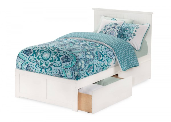 Atlantic Furniture Nantucket White Flat Panel Footboard and Two Urban Drawers Twin XL Bed AR8212112