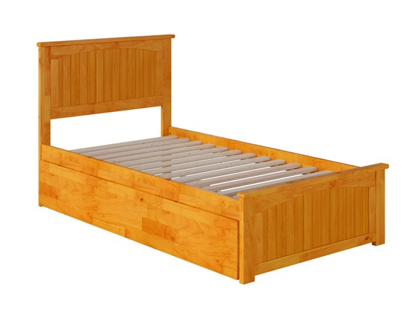 Atlantic Furniture Nantucket Caramel Twin XL Urban Trundle Bed with Matching Footboard AR8216047