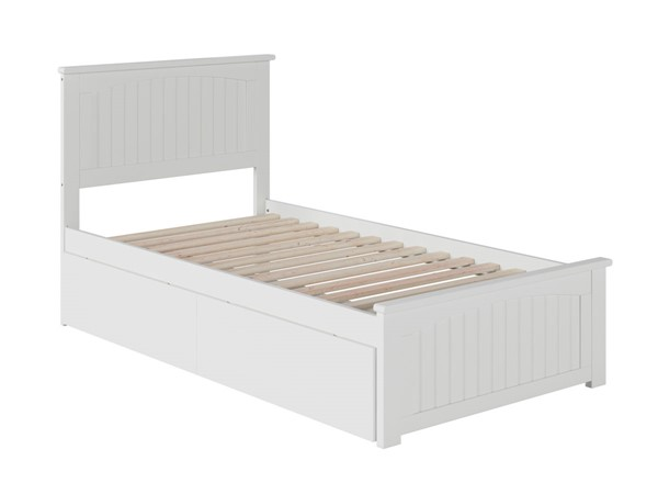 Atlantic Furniture Nantucket White 2 Urban Drawers Twin XL Bed with Matching Foot Board AR8216112
