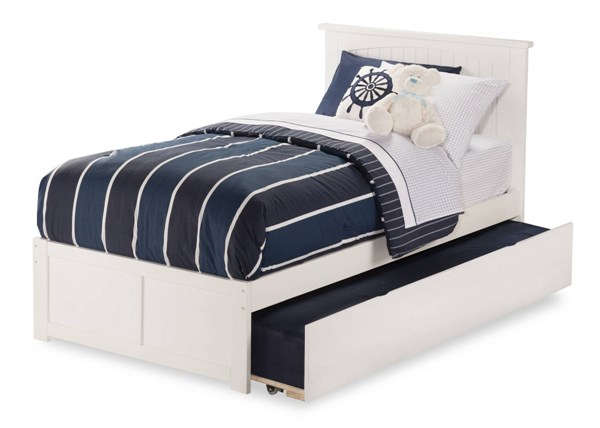 Nantucket White Wood Flat Panel Footboard And Urban Trundle Twin Bed AR8222012
