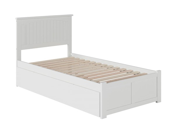 Atlantic Furniture Nantucket White Twin Bed with Flat Panel Foot Board and Twin Urban Trundle AR8222012