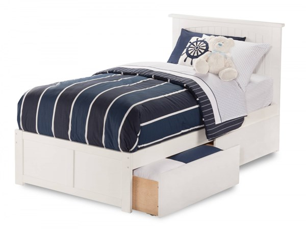 Nantucket White Wood Flat Panel Footboard & Urban Drawers Twin Bed AR8222112