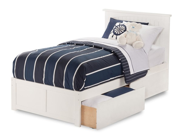 Atlantic Furniture Nantucket White Flat Panel Footboard and Two Urban Drawers Twin Bed AR8222112