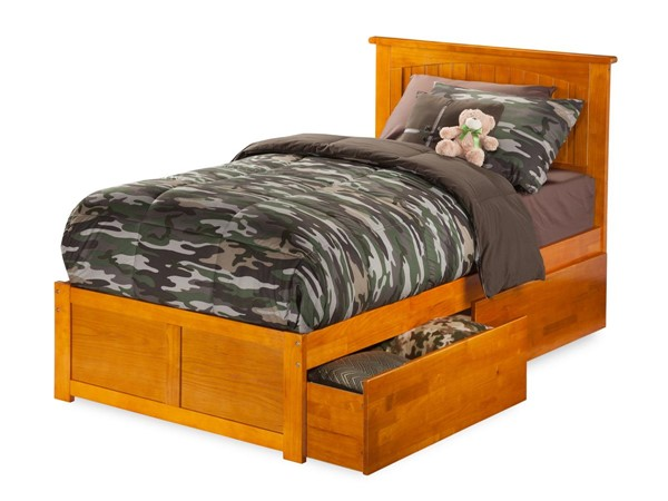 Atlantic Furniture Nantucket Caramel Latte Flat Panel Footboard and Two Urban Drawers Twin Bed AR8222117