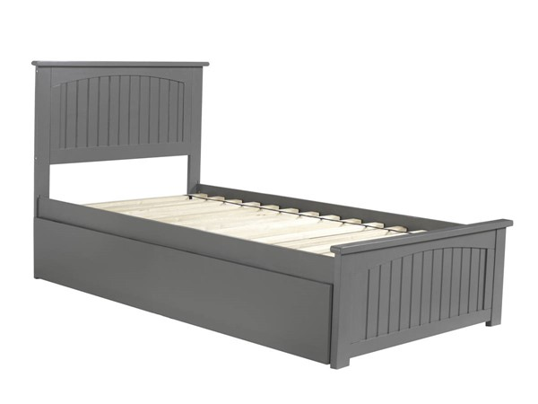 Atlantic Furniture Nantucket Grey Twin Urban Trundle Bed with Matching Foot Board AR8226019