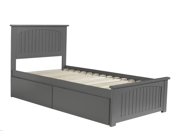 Atlantic Furniture Nantucket Grey 2 Urban Drawers Twin Bed with Matching Foot Board AR8226119
