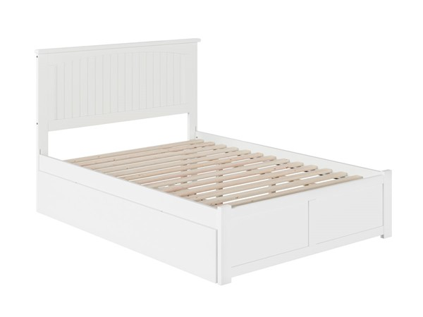 Atlantic Furniture Nantucket White Full Bed with Flat Panel Foot Board and Twin Urban Trundle AR8232012