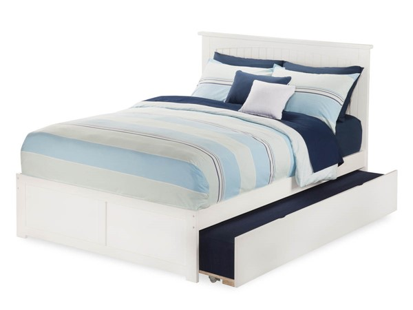 Atlantic Furniture Nantucket White Flat Panel Footboard and Urban Trundle Full Bed AR8232012