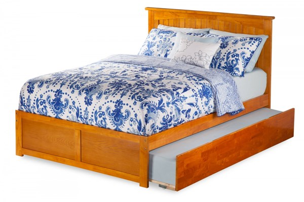Nantucket Caramel Latte Flat Panel Footboard & Urban Trundle Full Bed AR8232017