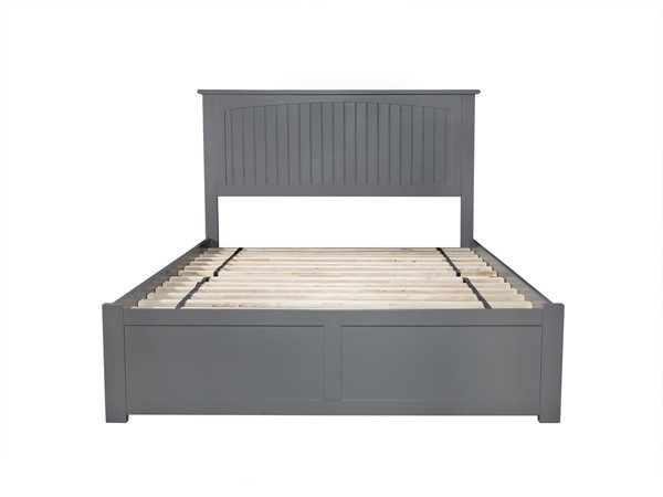 Atlantic Furniture Nantucket Grey Flat Panel Footboard and Twin Urban Trundle Full Platform Bed AR8232019
