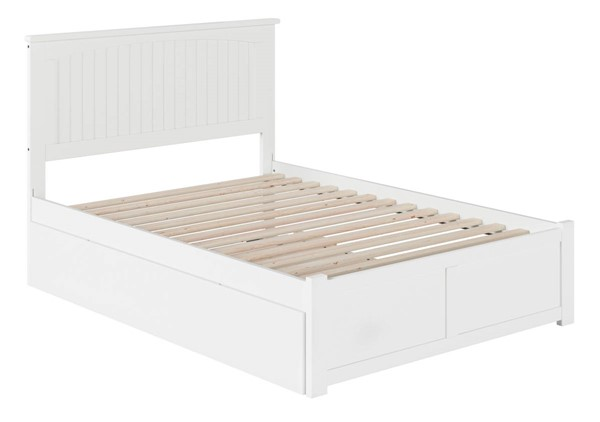 Atlantic Furniture Nantucket White Full Bed with Flat Panel Foot Board and Full Urban Trundle AR8232052