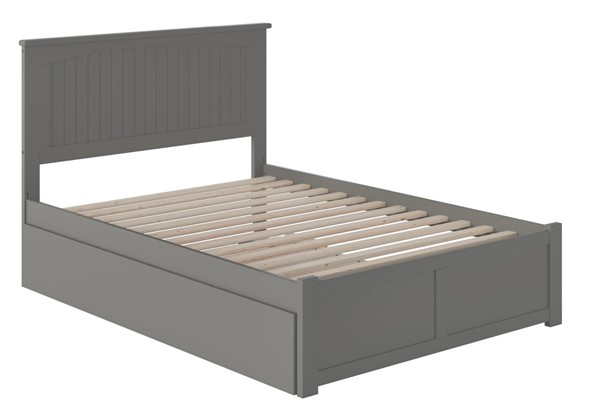 Atlantic Furniture Nantucket Grey Full Bed with Flat Panel Foot Board and Full Urban Trundle AR8232059