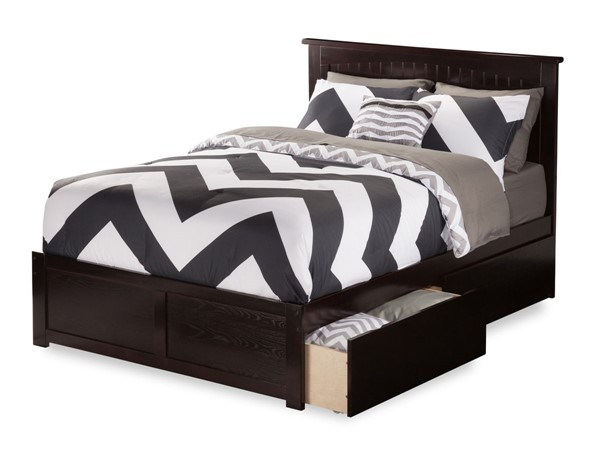 Atlantic Furniture Nantucket Espresso Flat Panel Footboard and Two Urban Drawers Full Bed AR8232111